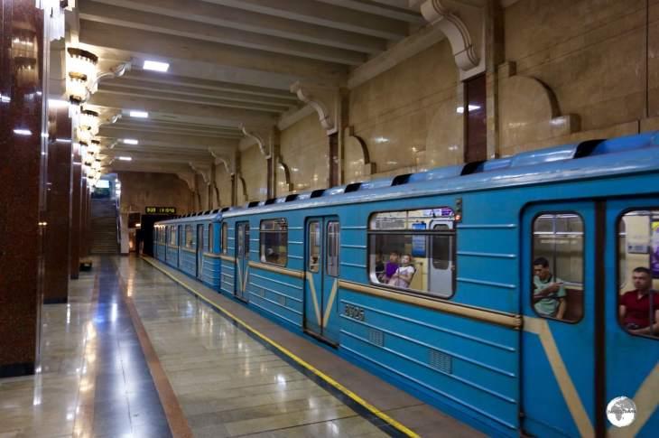 A Tashkent metro train operating on the green line.