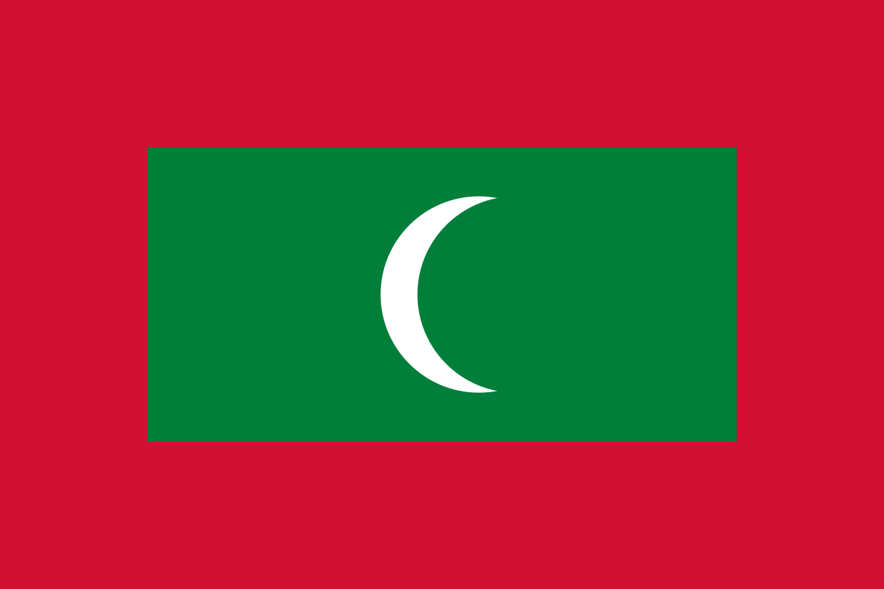 The flag of the Maldives.