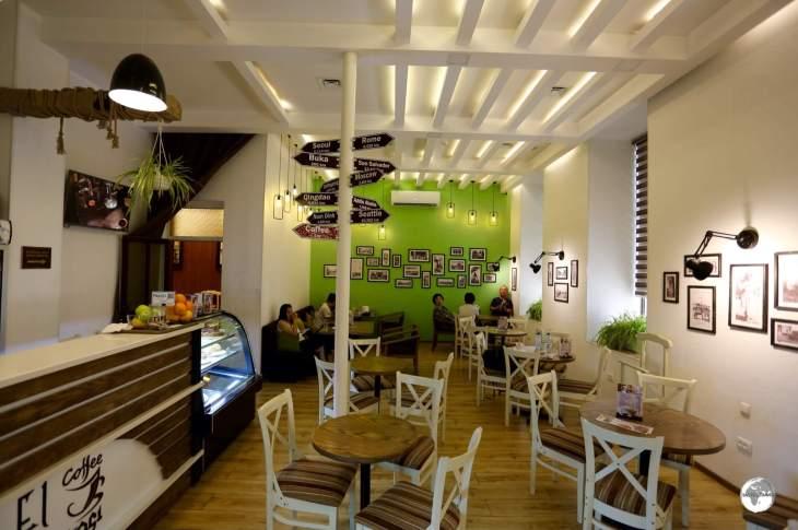 The cosy interior of Cafe El-Merosi in Samarkand.