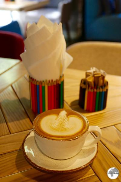 Cafe Latte at the Baku Book Centre Cafe.