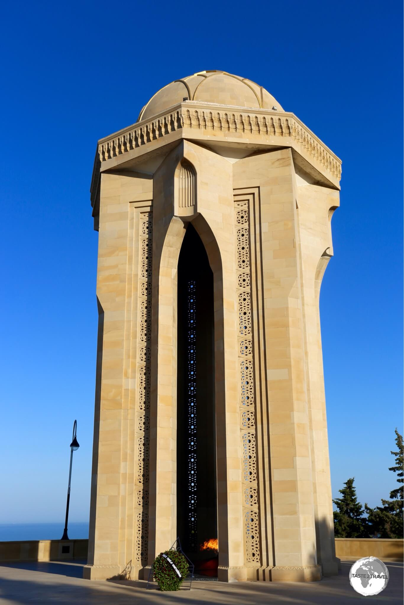 The Eternal Flame Memorial at Highland park which overlooks Baku.