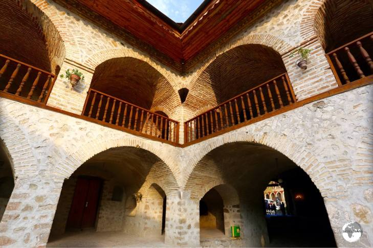 The courtyard of the old caravansary in historic Sheki.