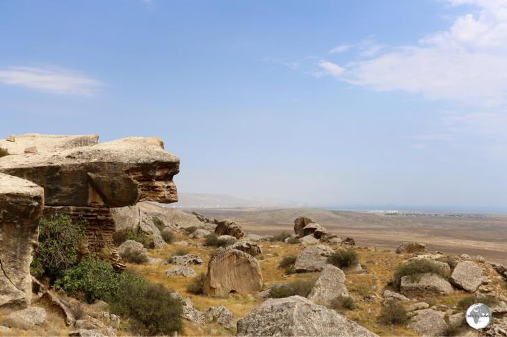 The Gobustan Petroglyph Reserve is set on an escarpment overlooking the Caspian Sea.