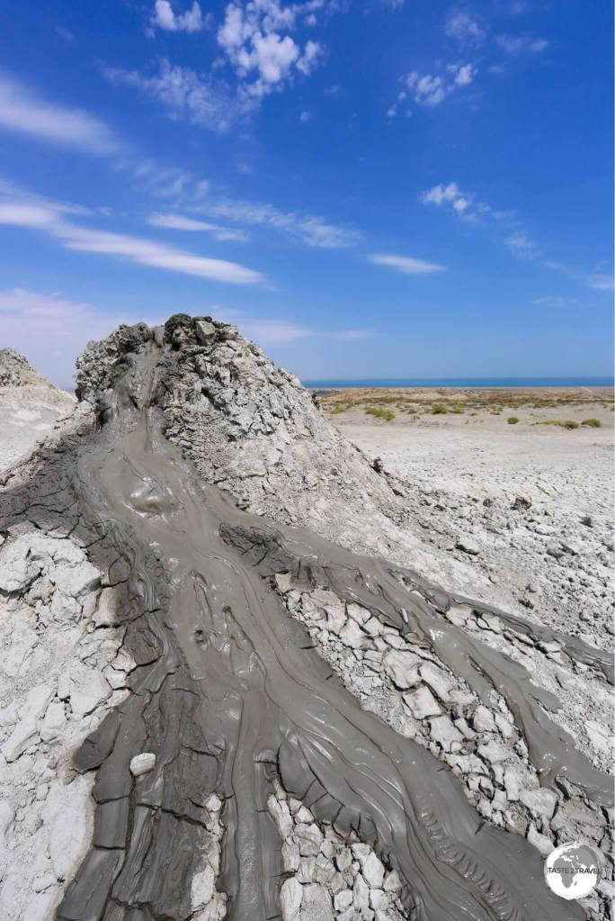 One of many mud volcanoes which can be seen at Daşgil Hill.