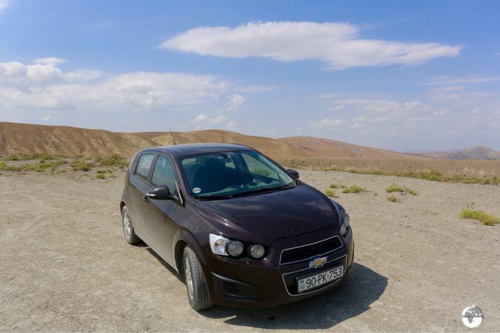 Off-roading in my rental car in Azerbaijan.
