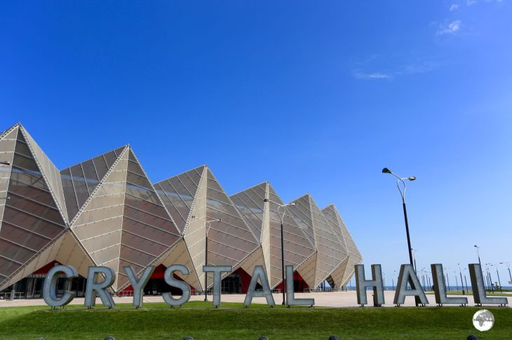 The Crystal hall is located on the waterfront in downtown Baku.