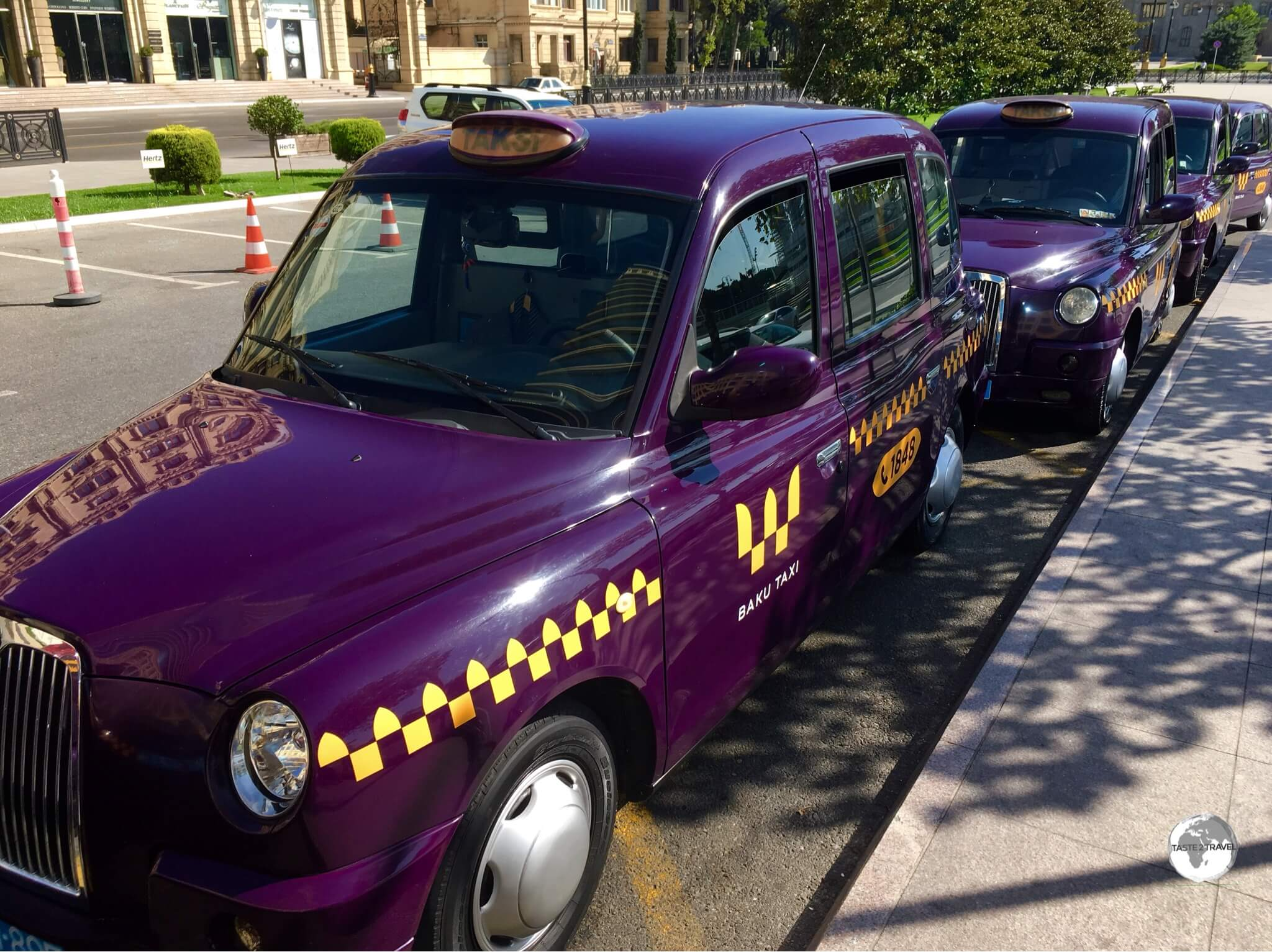 Eggplant-coloured London cabs can be hailed anywhere on the streets of Baku.
