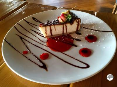 Cheesecake served at the Crystal cafe, Crystal Hall, Baku.