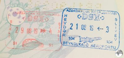 Azerbaijan entry and exit stamps.