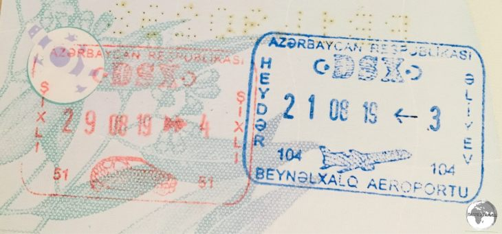 Azerbaijan passport stamps.