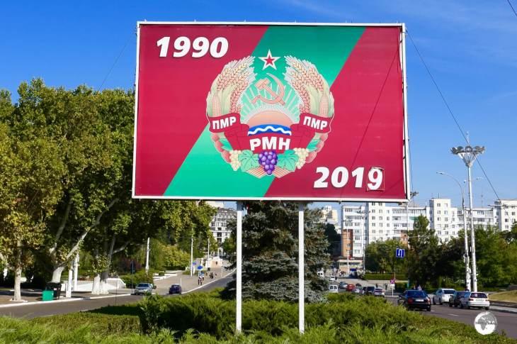A billboard in Tiraspol commemorates 29 years of the Pridnestrovian Moldavian Republic (PMR).
