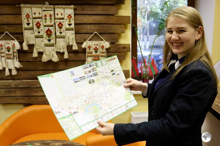 The wonderful Tatyana, from the Tiraspol Tourist Information centre, presenting me with a map of the city.