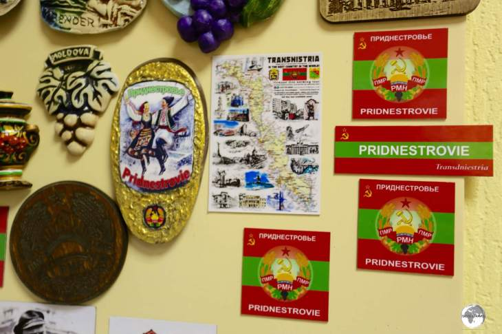 Transnistria magnets on sale at the Tourist Information centre.