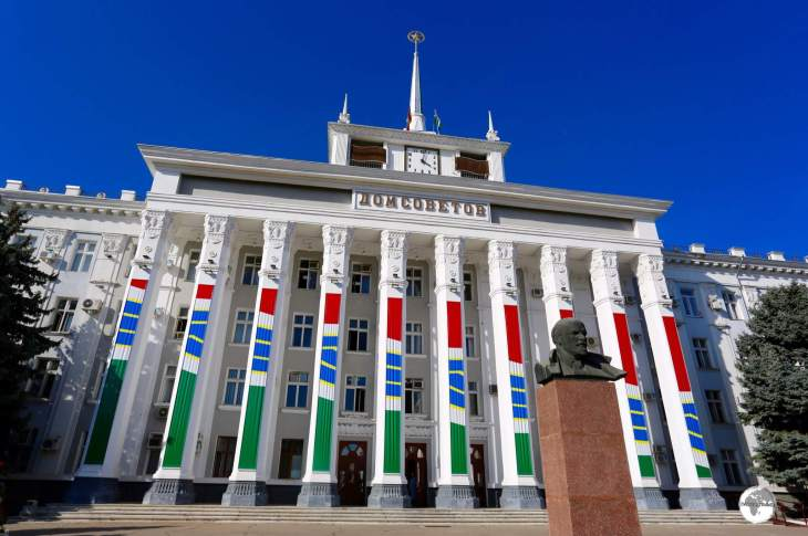 The Dom Sovetov (House of Soviets), serves as the TiraspolCity Hall and is fronted by a bust of Lenin.