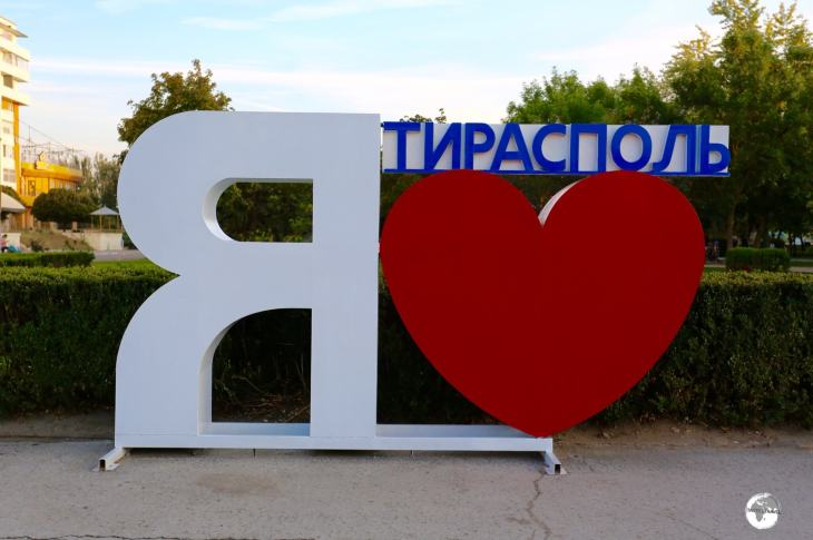 'I Love Tiraspol' in Cyrillic.