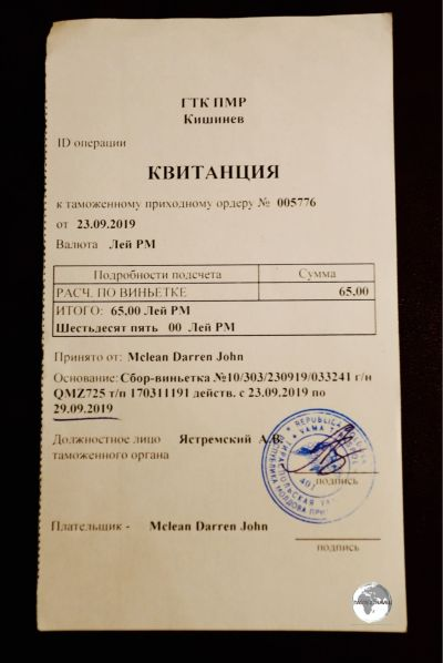 All vehicles entering Transnistria are required to purchase a 'Carnet de Passage'.