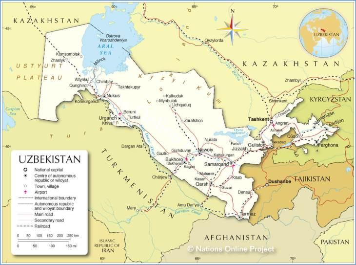 Political map of Uzbekistan. Source: https://www.nationsonline.org