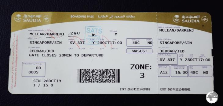 My Saudia boarding pass for my flight from Singapore to Jeddah.