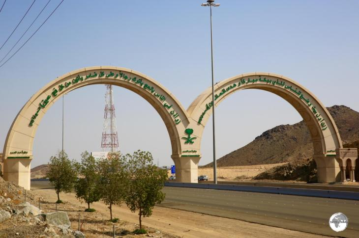 The city gate of Mecca which spans the main highway from Jeddah.