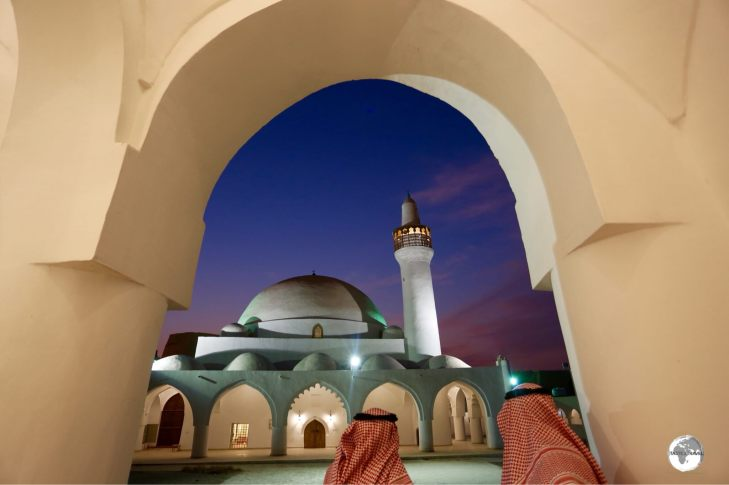 Worshippers view the Al-Qubba mosque at Ibrahim Palace in Al Hofuf.