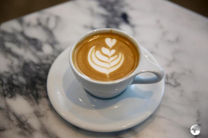 A perfect Flat white at Qaf Coffee Roasters.