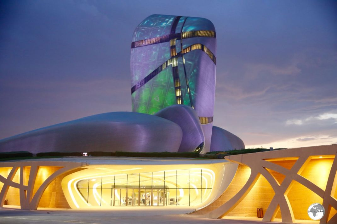 Located on the outskirts of Dhahran, the King Abdulaziz Centre for World Culture looms large over the surrounding desert plain.
