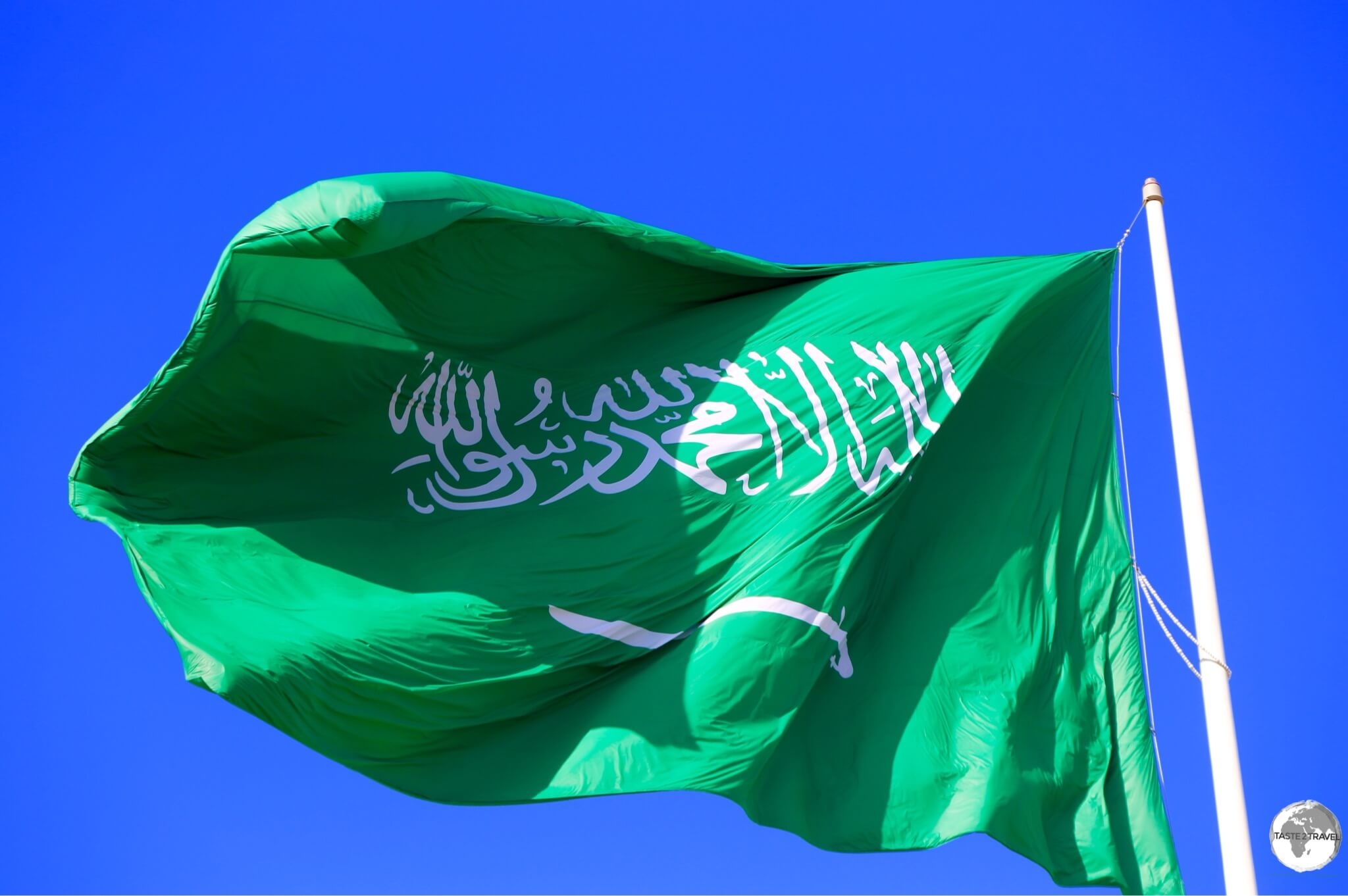 The flag of Saudi Arabia is always double-sided so that the 'shahada' reads correctly, from right to left, from either side.