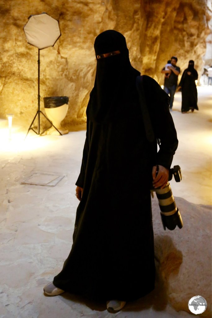 All Saudi woman and most female foreigners, wear the Abeya.