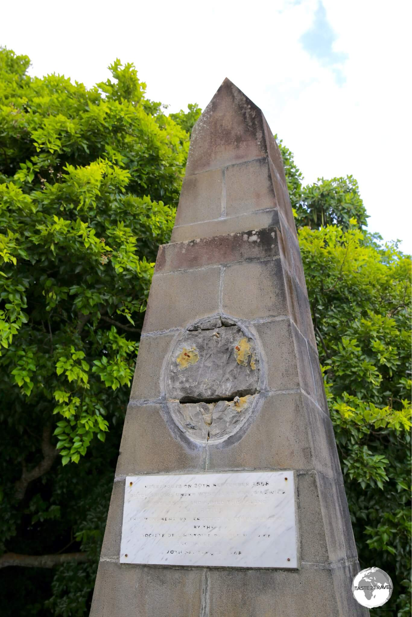 A rather dilapadated monument marks the spot where the Dutch first landed on Mauritius.