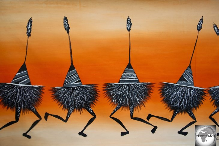 This large, colourful artwork, which depicts 'Tumbuan' dancers from the island of East New Britain, was an inexpensive souvenir at US$30.