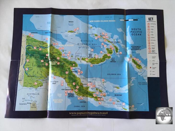 A map of Papua New Guinea, which is home to approximately 600 islands.