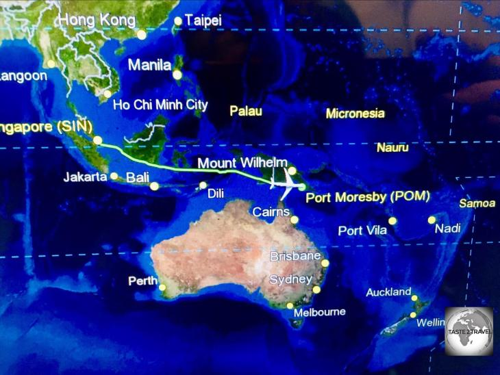 En-route from Singapore to Port Moresby with Air Niugini.