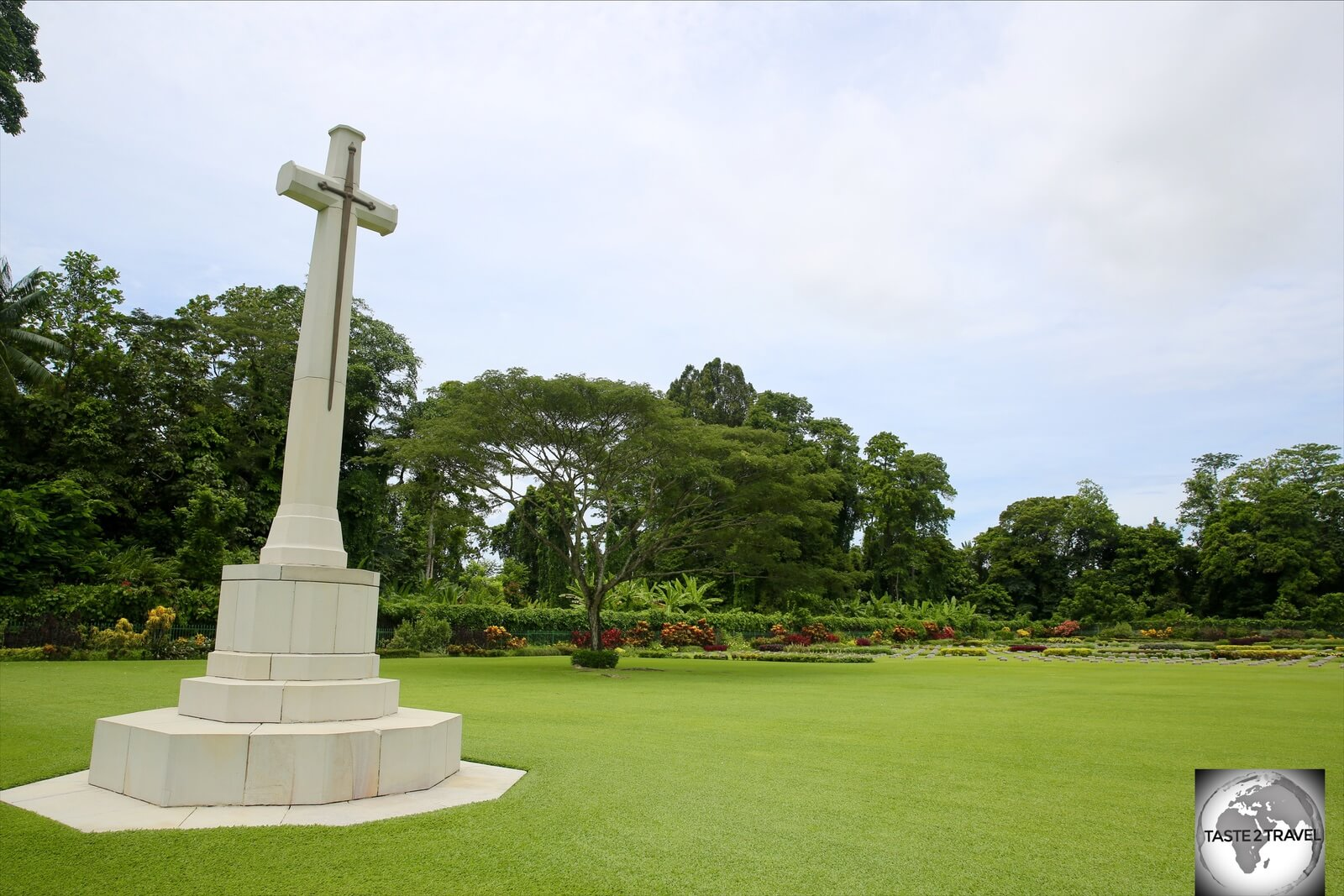 A memorial marker at the Lae War Cemetery.