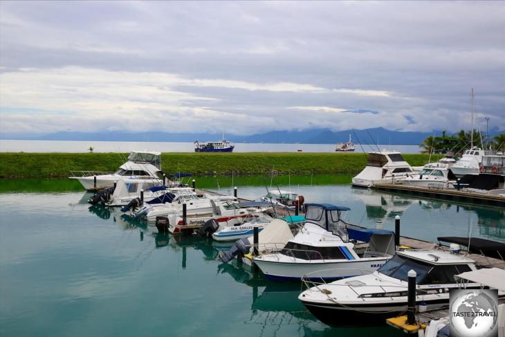 The serene view from the deck of the Lae Yacht Club.