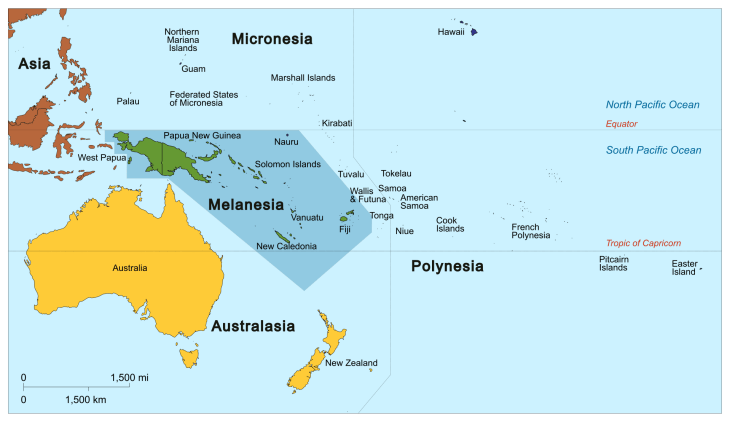 A Map of Melanesia. By source: https://commons.wikimedia.org/w/index.php?curid=30880557