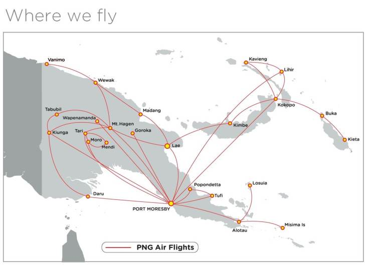 PNG Air Route Map.