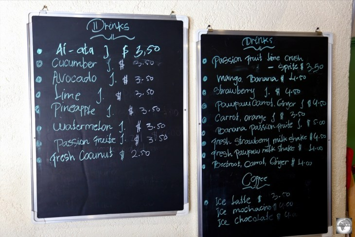The drinks menu at the Spa Cafe in Dili.