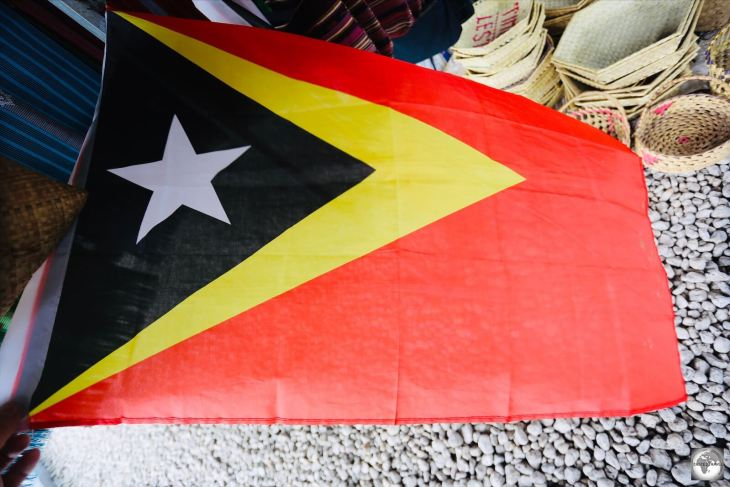 A flag of Timor-Leste at the Tais Market in Dili.