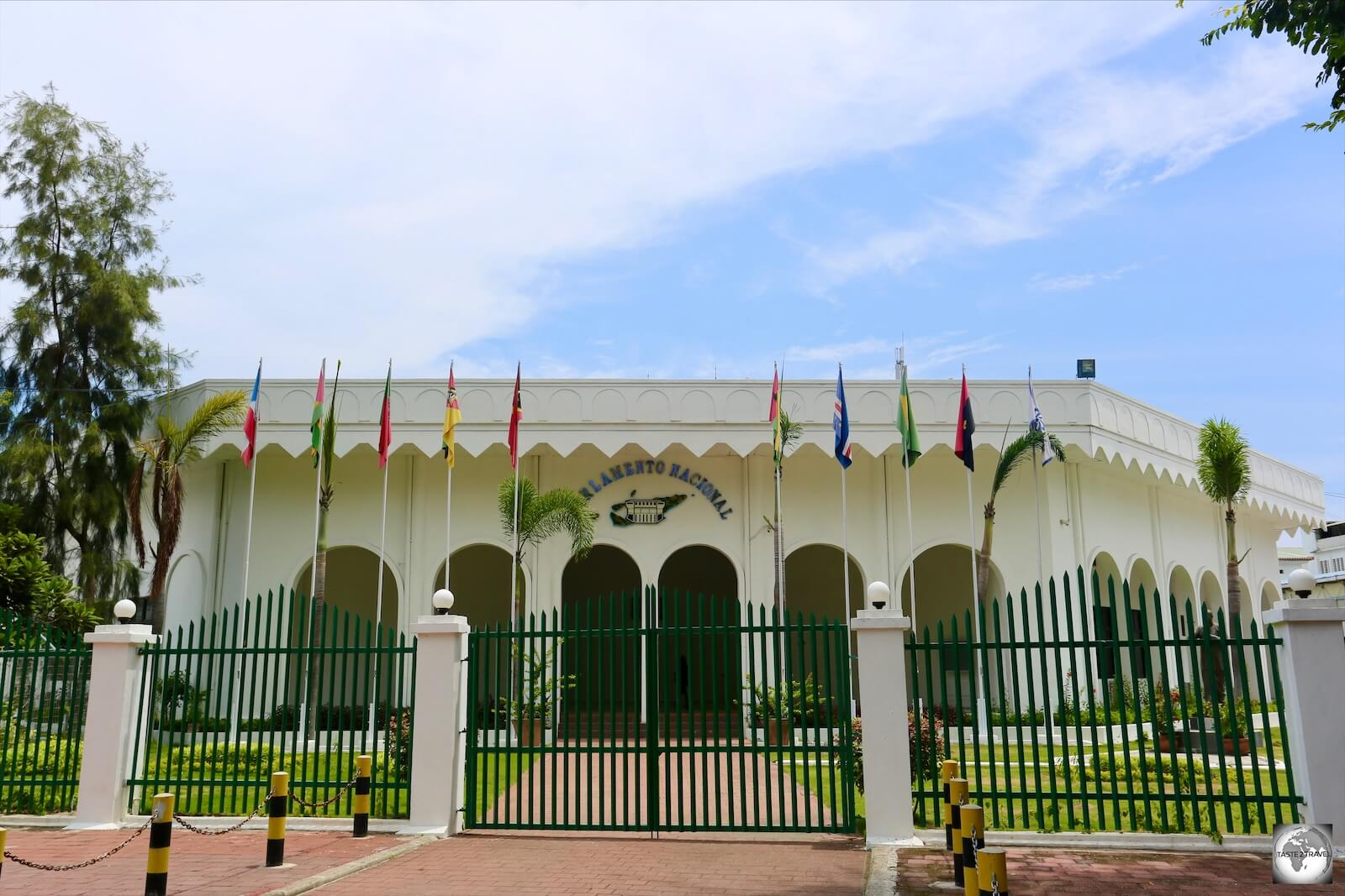 The National Parliament building in Dili. Photography is only allowed from the street.