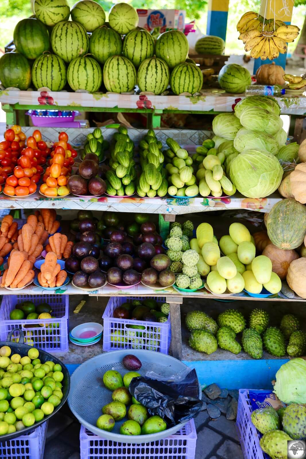 Fruit and vegetables for sale at the waterfront market in Dili.