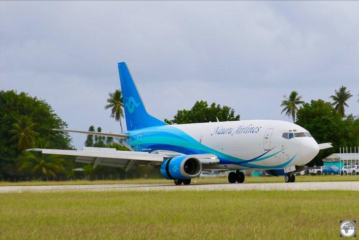 The Nauru Airlines cargo plane, a converted Boeing 737, arriving at Nauru airport.