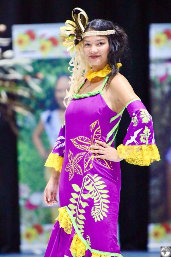 'Miss Nauru Cenpac 2020', Ofa Fay Temaki competing in the final evening of the competition.