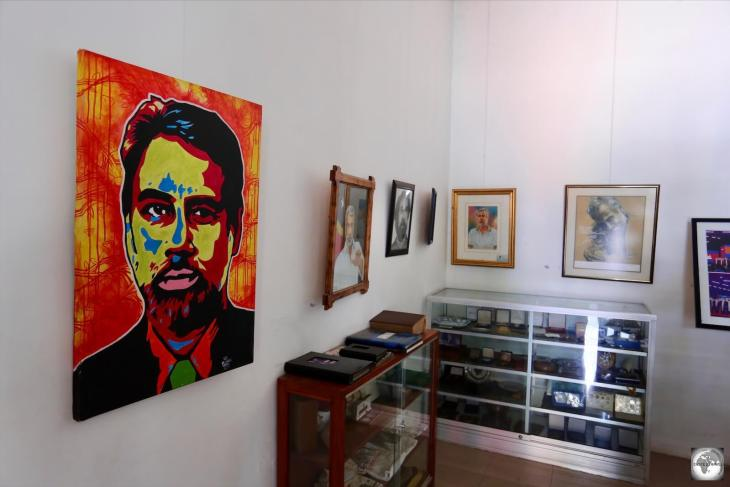 A portrait of Xanana Gusmão dominates the displays in one of the rooms at the Xanana Gusmão Reading Room complex.