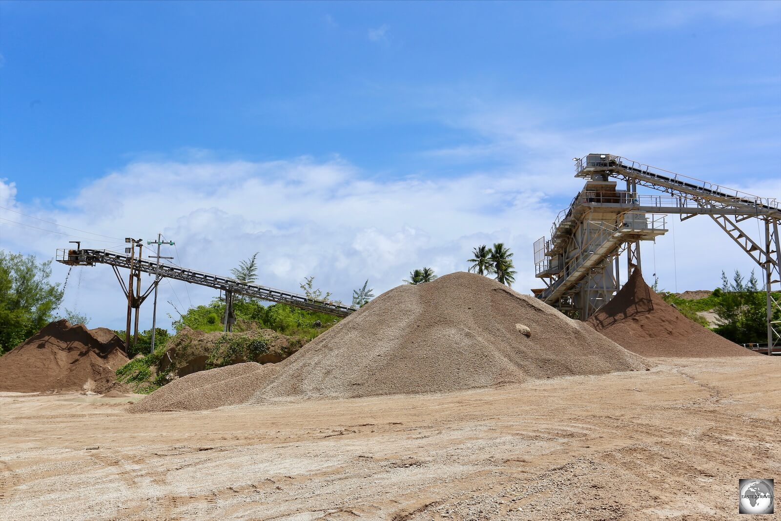 Phosphate being sorted into different grades at a mine on Topside.
