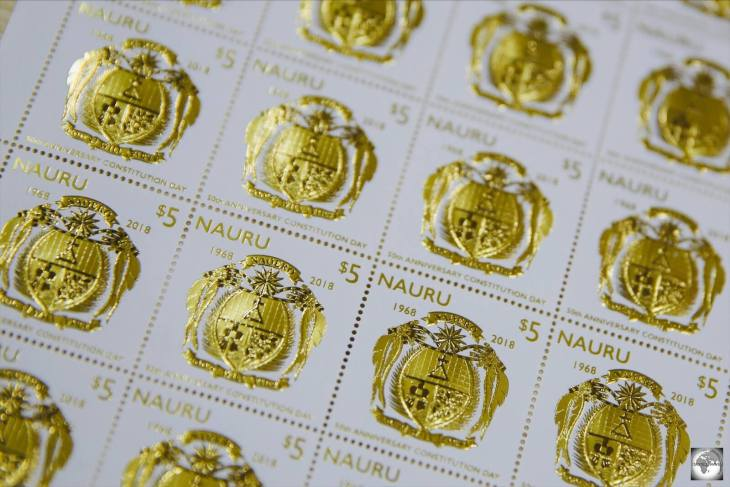 The gold leaf stamp, which was issued in 2018 to commemorate 50 years of Nauru Independence and marked the reopening of Nauru Post.