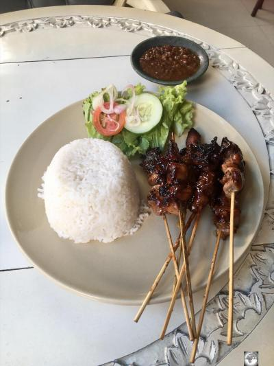 My chicken satay lunch at Timor Plaza, which cost me US$6.