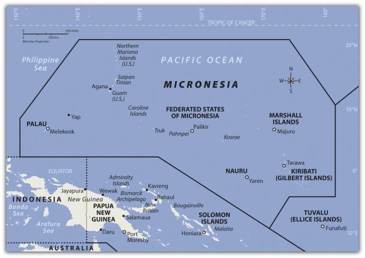 A map of the region of Micronesia.
