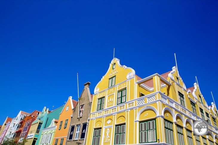 Penha House and the colourful Handelskade line the waterfront in downtown Willemstad.