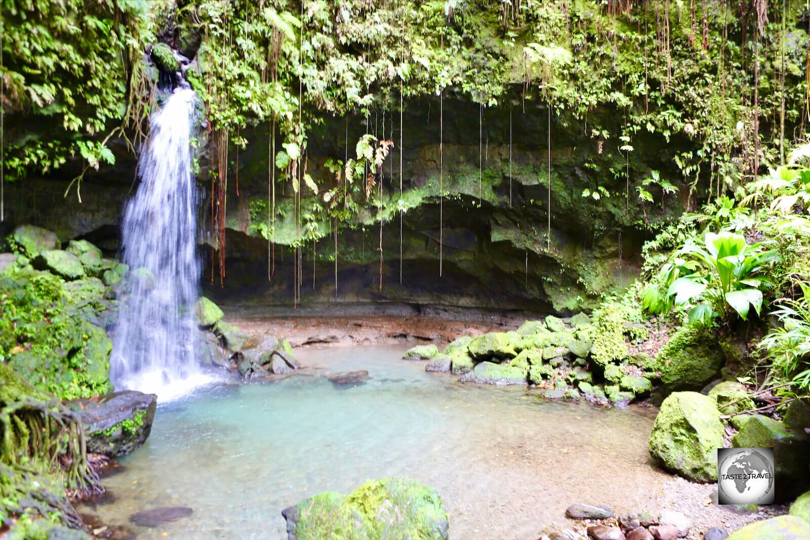 The Emerald pool is a relaxed natural pool with a rocky ledge and a small waterfall in the middle of a serene rainforest.