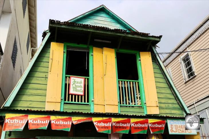 A typical wooden building in downtown Roseau, Dominica.